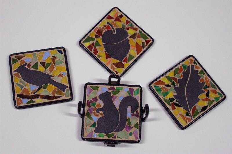 SLATE AND STAINED GLASS COASTERS